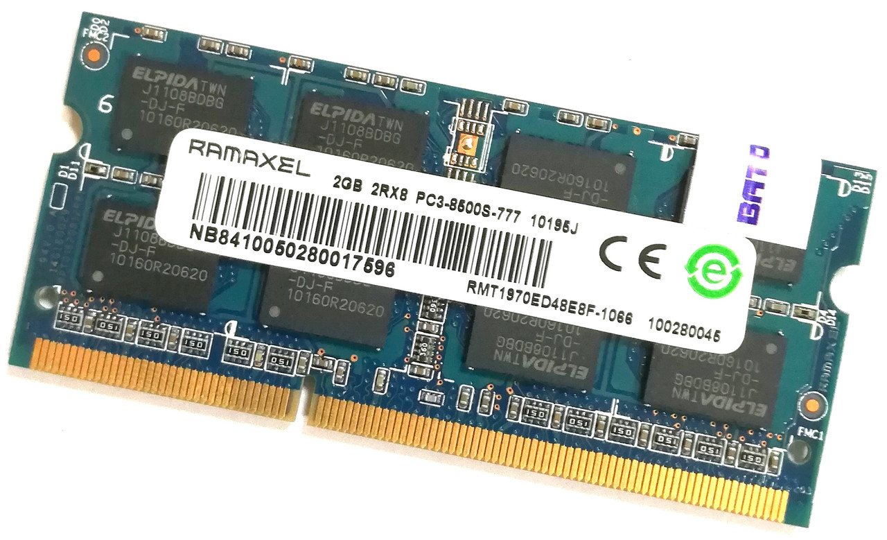 Оперативная память для ноутбука Ramaxel SODIMM DDR3 2Gb 1066MHz 8500s 2R8 CL7 (RMT1970ED48E8F-1066) Б/У