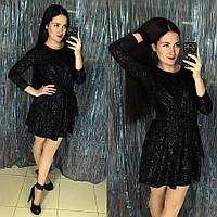 Нарядное блестящее платье чёрное