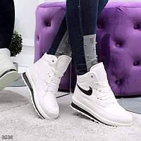 Дутики короткие женские белые шнуровка Украина