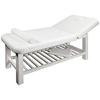 Двух секционный стационарный массажный стол белый zd 877