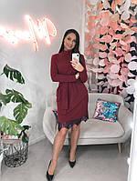 """Нарядное ангоровое платье прямого кроя """"Жизель"""" с гипюром и карманами (большие размеры)"""