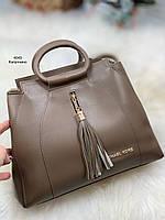 Женская сумка трапеция классическая деловая модная молодежная сумочка капучино экокожа, фото 1