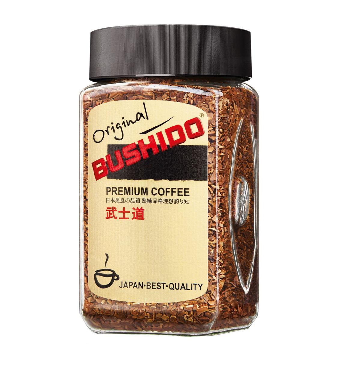Растворимый кофе Бушидо Оригинал сублимированный 100 грамм в стеклянной банке