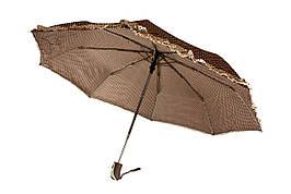 Зонт складной, автомат, 8 спиц, коричневый в горох