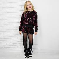 Комплект костюм праздничный одежда на бордовый из шорт и джемпера на девочку-подростка рост 134-176
