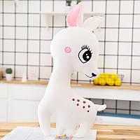 Мягкая милая детская игрушка - подушка Белый оленёнок, 50 см