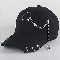 Кепка бейсболка Полукруг с цепью и кольцами (черная)
