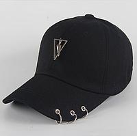 Кепка бейсболка Треугольник с кольцами (черная)