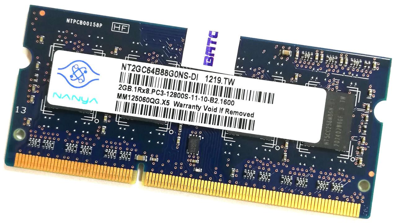 Оперативная память для ноутбука Nanya SODIMM DDR3 2Gb 1600MHz 12800s 1R8 CL11 (NT2GC64B88G0NS-DI) Б/У