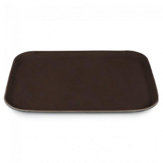 Поднос прямоугольный прорезиненный 45*35см коричневый