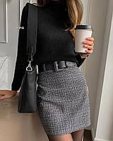 Женская короткая юбка из шерсти с поясом