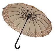 Зонт-трость, полуавтомат, 16 спиц, серый