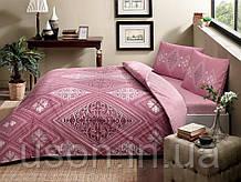 Комплект постельного белья  tac ранфорс евро размер SILVIA GUL-KURUSU