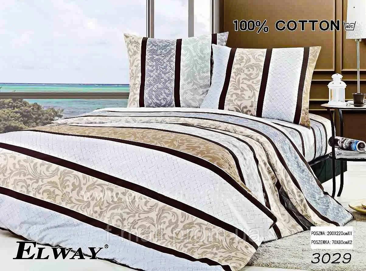 Комплект постельного белья ELWAY (Польша) Сатин полуторный (3029)