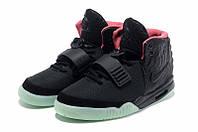 Кроссовки женские Nike Air Yeezy 2  Черно-зеленые, фото 1