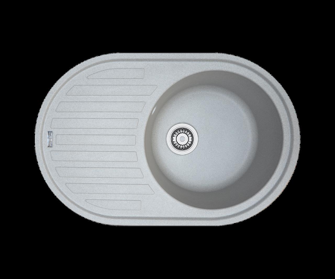 Кухонна мийка гранітна Borgio OVM-770x500 сірий камінь