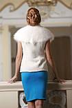 Жилет из полярного песца альбиноса и белого мутона, фото 3