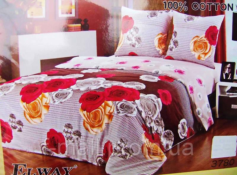 Комплект постельного белья ELWAY (Польша) Сатин полуторный (3780)