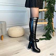 Сапоги на высоком каблуке эко кожа черные, фото 3