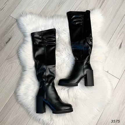 Сапоги на высоком каблуке эко кожа черные, фото 2