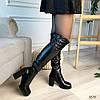 Сапоги на высоком каблуке эко кожа черные, фото 4