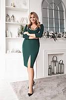 Фиолетовое элегантноеженское платье size plus с разрезом спереди глубокое декольте 48-50 52-54 длинный рукав