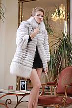 Шуба кожушок жилет з песця зі знімними рукавами Blue fox fur coat and vest with detachable sleeves