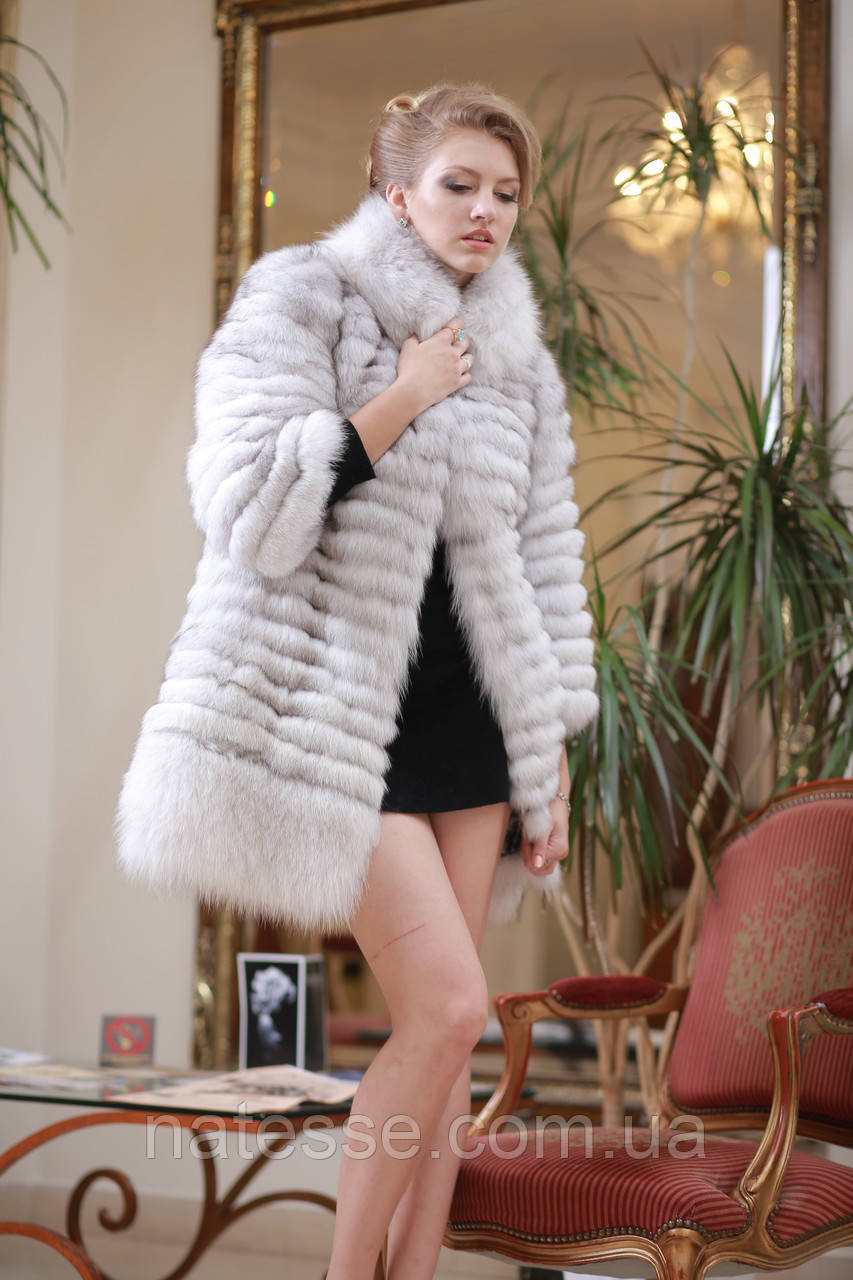 Шуба полушубок жилет из песца со съемными рукавами Blue fox fur coat and vest with detachable sleeves, фото 1