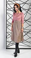 Деловое замшевое платье бежевое+пудровое 44-52