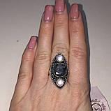 Изумруд кольцо с камнями изумруд и жемчуг в серебре. Размер 19-19,5, фото 2
