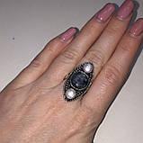 Изумруд кольцо с камнями изумруд и жемчуг в серебре. Размер 19-19,5, фото 4