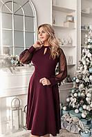 Праздничное женское платье батальное длинный рукав сетка размер 48-50 52-54, нарядные платья больших размеров