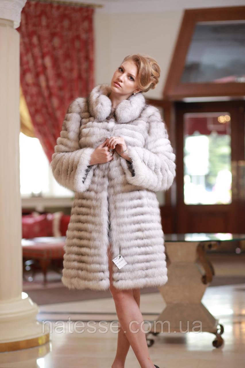 Шуба жилет из вуалевого песца,  рукава съемные, длина от плеча 100 см Blue fox fur coat and vest