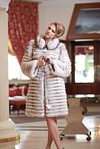 Шуба жилет з вуалевого песця, знімні рукави, довжина від плеча 100 см Blue fox fur coat and vest