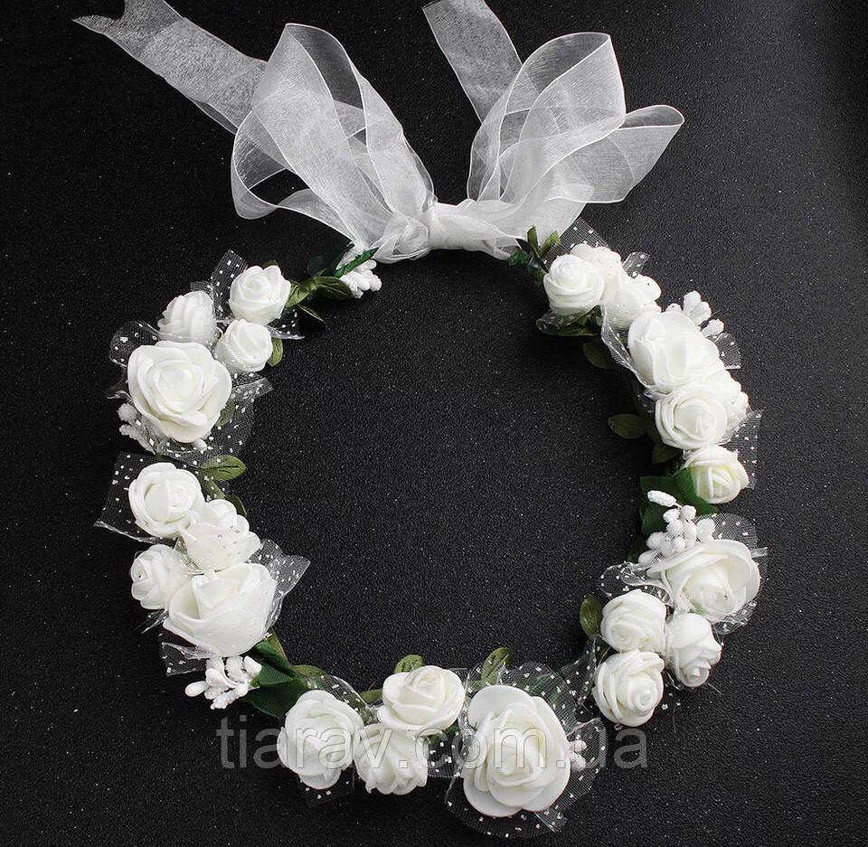 Венок на голову белый свадебный, веночек с белыми цветами для волос
