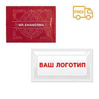 Салфетка влажная с логотипом Вашей компании в индивидуальной фольгированной упаковке размер саше 6х8 см
