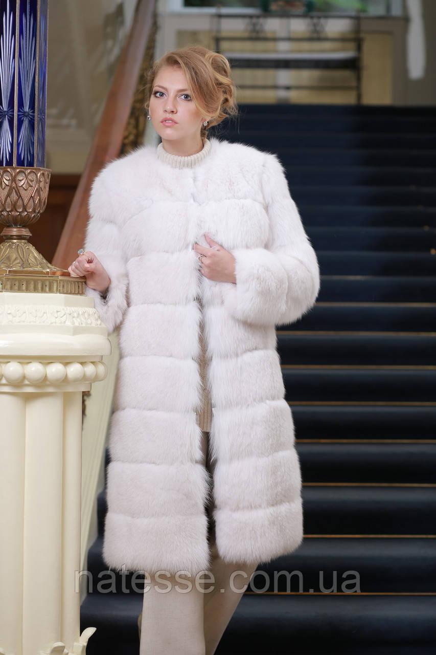 Шуба полушубок жилет из белого полярного песца Convertible Blue fox fur coat&vest