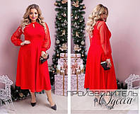 Красное женское платье батальное длинный рукав сетка размер 48-50 52-54, нарядные платья больших размеров