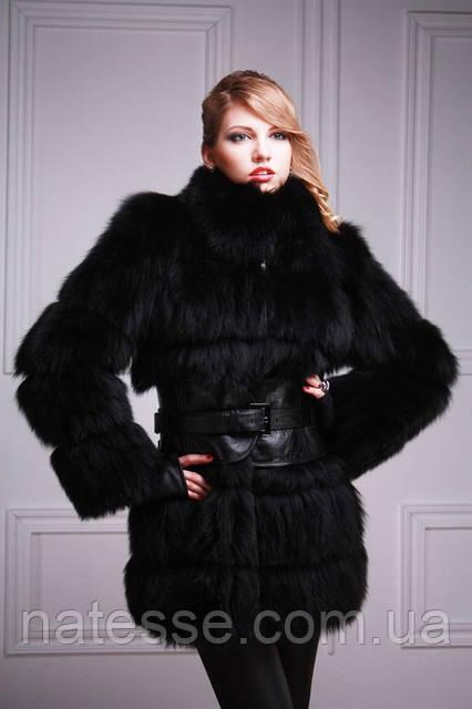 Шуба-куртка-жилет з чорного песця, знімні рукави black-dyed blue fox fur coat vest