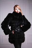 Шуба-куртка-жилет из черного песца, рукава съемные  black-dyed blue fox fur coat vest, фото 1