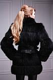 Шуба-куртка-жилет з чорного песця, знімні рукави black-dyed blue fox fur coat vest, фото 3