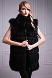 Шуба-куртка-жилет з чорного песця, знімні рукави black-dyed blue fox fur coat vest, фото 4