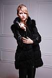 Шуба-куртка-жилет з чорного песця, знімні рукави black-dyed blue fox fur coat vest, фото 5