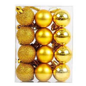 Набор елочных игрушек шары золотые (HO-O-10) 27шт. 4 см, фото 2