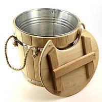 Запарник для веников дубовый 15 л. с металл. вставкой, фото 1