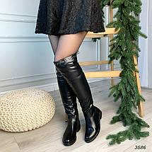 Черные сапоги низкий каблук эко кожа 3586, фото 2