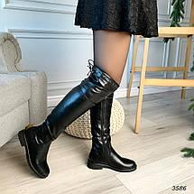 Черные сапоги низкий каблук эко кожа 3586, фото 3