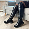 Черные сапоги низкий каблук эко кожа 3586, фото 6