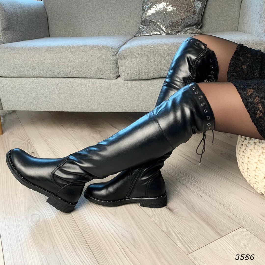 Черные сапоги низкий каблук эко кожа 3586