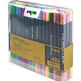 Набір двосторонніх акварельних маркерів для скетчинга з кистю на водній основі STA 48 кольорів (B141219), фото 3